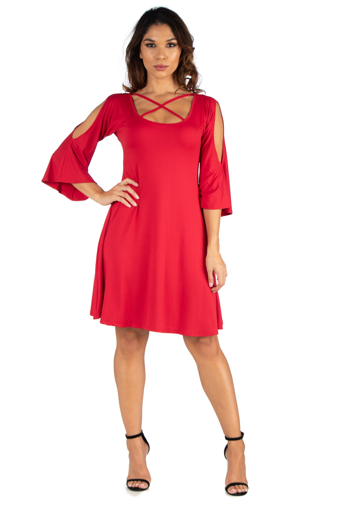 24seven Comfort Apparel Womens Criss Cross Neckline Cold Shoulder Dress-Dresses-24Seven Comfort Apparel-RED-S-24/7 Comfort Apparel