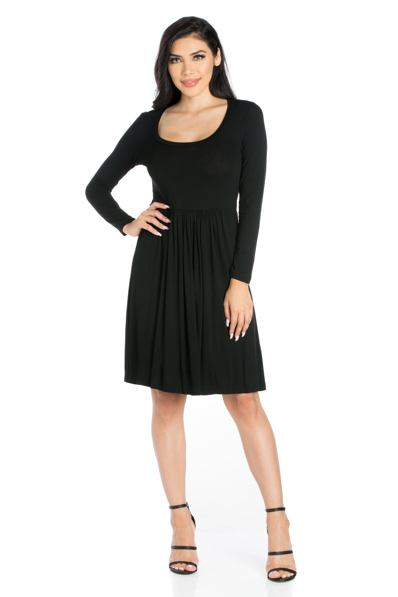 24seven Comfort Apparel Casual Long Sleeve Pleated Dress-Dresses-24Seven Comfort Apparel-BLACK-S-24/7 Comfort Apparel