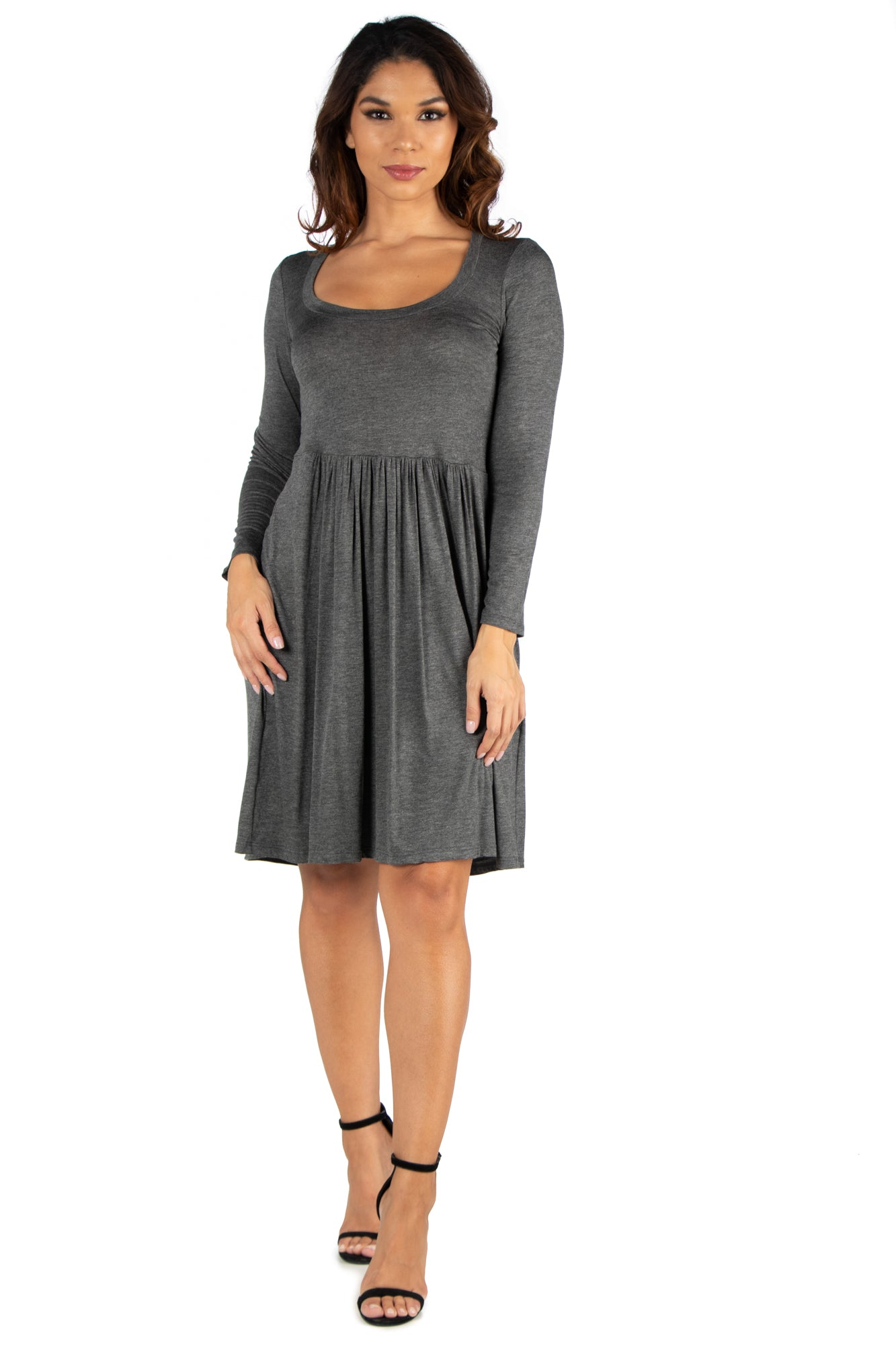 24seven Comfort Apparel Casual Long Sleeve Pleated Dress-Dresses-24Seven Comfort Apparel-GREY-S-24/7 Comfort Apparel