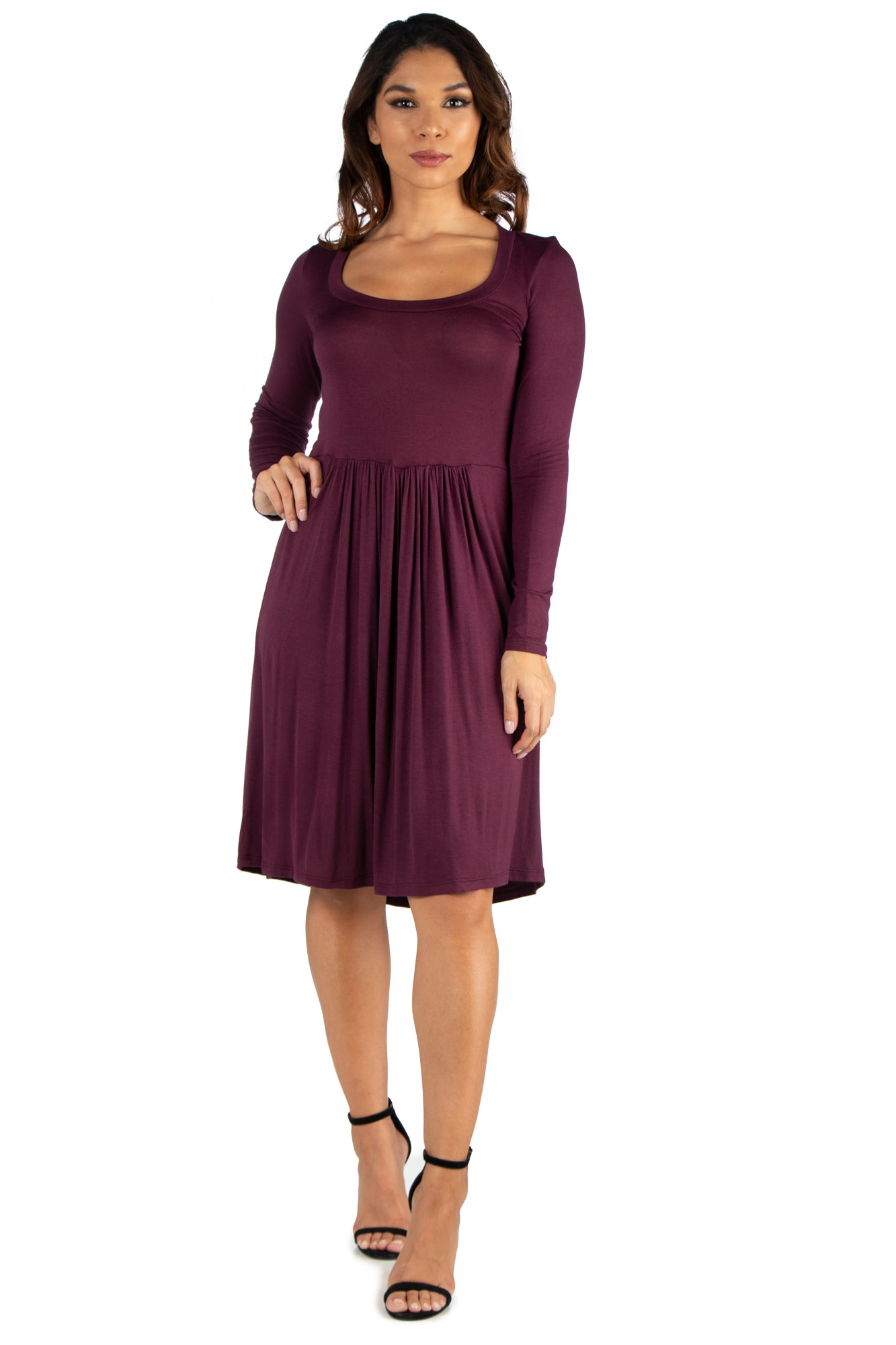 24seven Comfort Apparel Casual Long Sleeve Pleated Dress-Dresses-24Seven Comfort Apparel-PLUM-S-24/7 Comfort Apparel