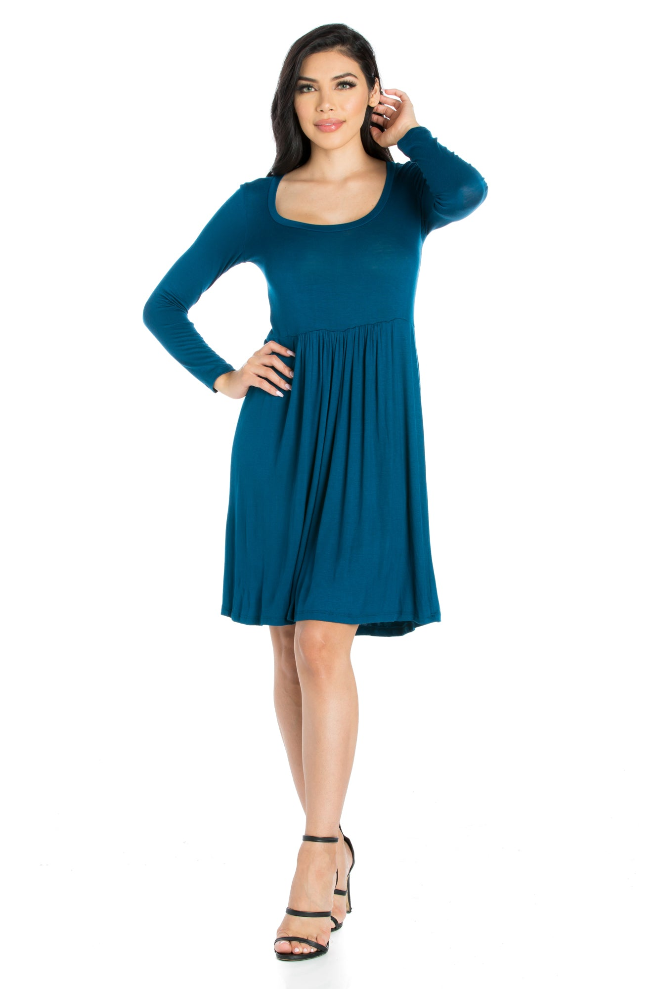 24seven Comfort Apparel Casual Long Sleeve Pleated Dress-Dresses-24Seven Comfort Apparel-TEAL-S-24/7 Comfort Apparel