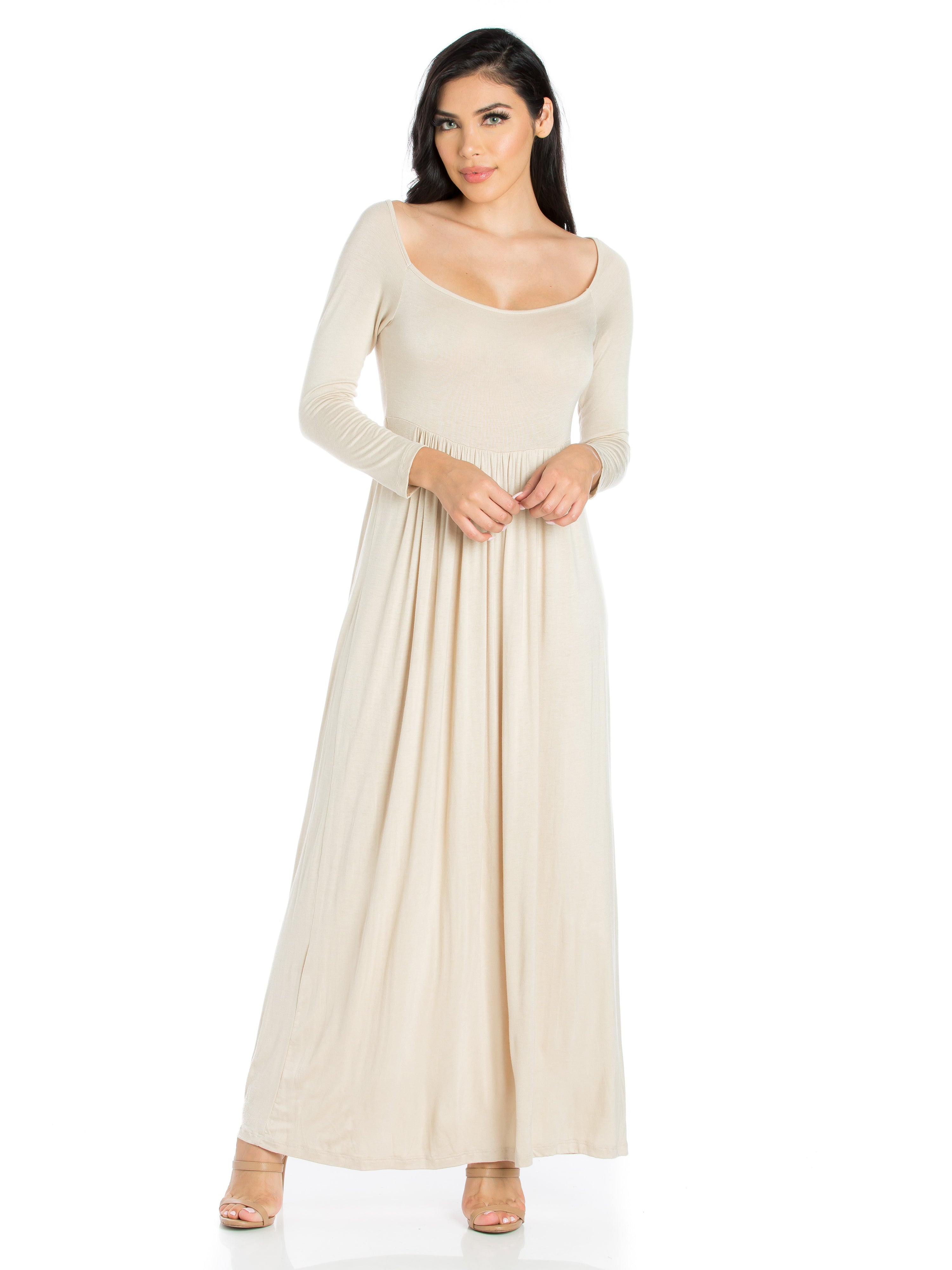 24seven Comfort Apparel Empire Waist Long Sleeve Casual Maxi Dress