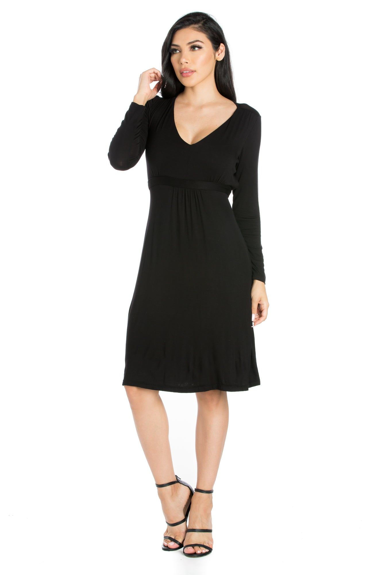 24seven Comfort Apparel Long Sleeve V-Neck Cocktail Dress-Dresses-24Seven Comfort Apparel-BLACK-S-24/7 Comfort Apparel