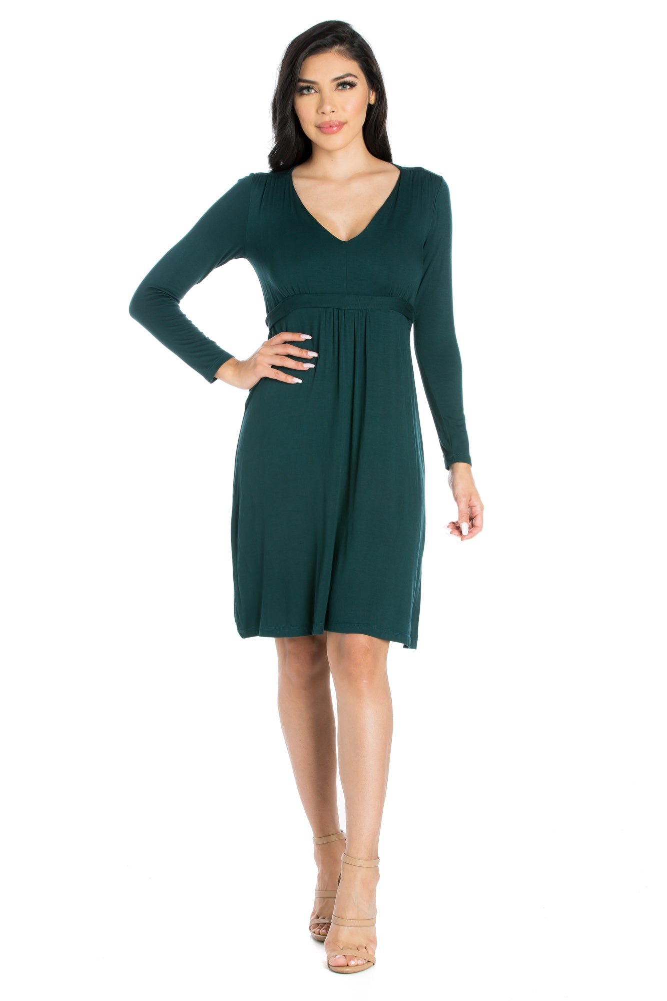 24seven Comfort Apparel Long Sleeve V-Neck Cocktail Dress-Dresses-24Seven Comfort Apparel-HUNTER-S-24/7 Comfort Apparel