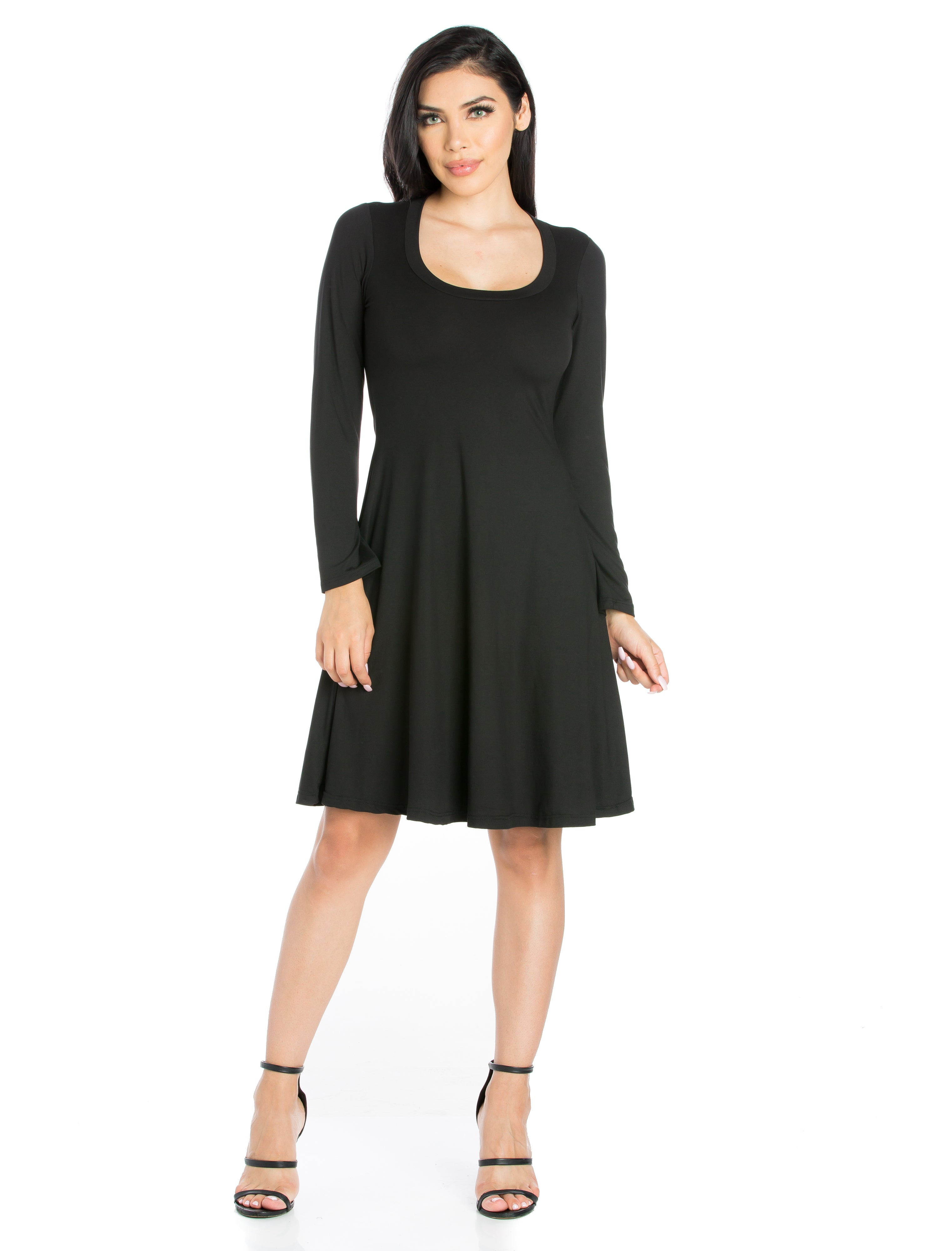 24seven Comfort Apparel Classic Long Sleeve Flared Mini Dress-Dresses-24Seven Comfort Apparel-BLACK-S-24/7 Comfort Apparel