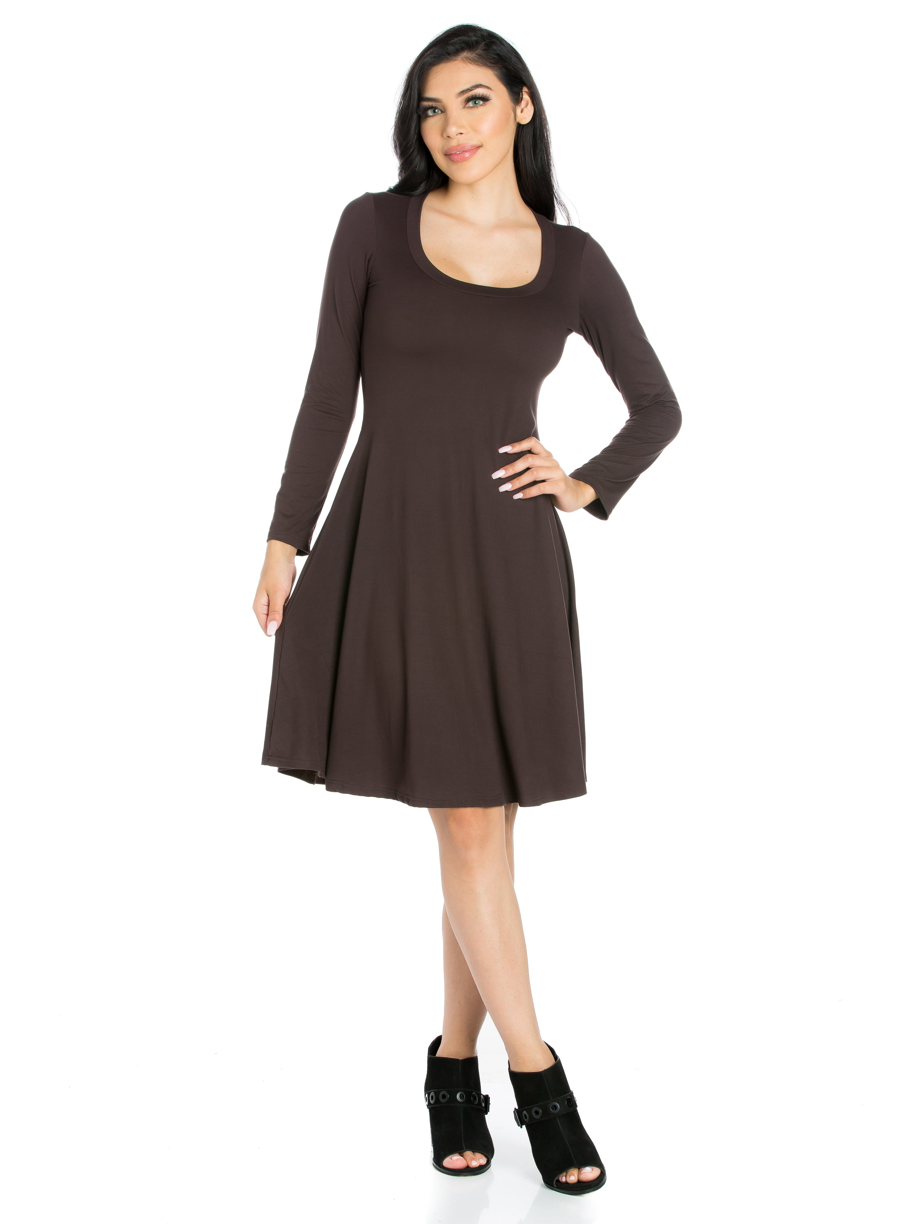 24seven Comfort Apparel Classic Long Sleeve Flared Mini Dress-Dresses-24Seven Comfort Apparel-BROWN-S-24/7 Comfort Apparel