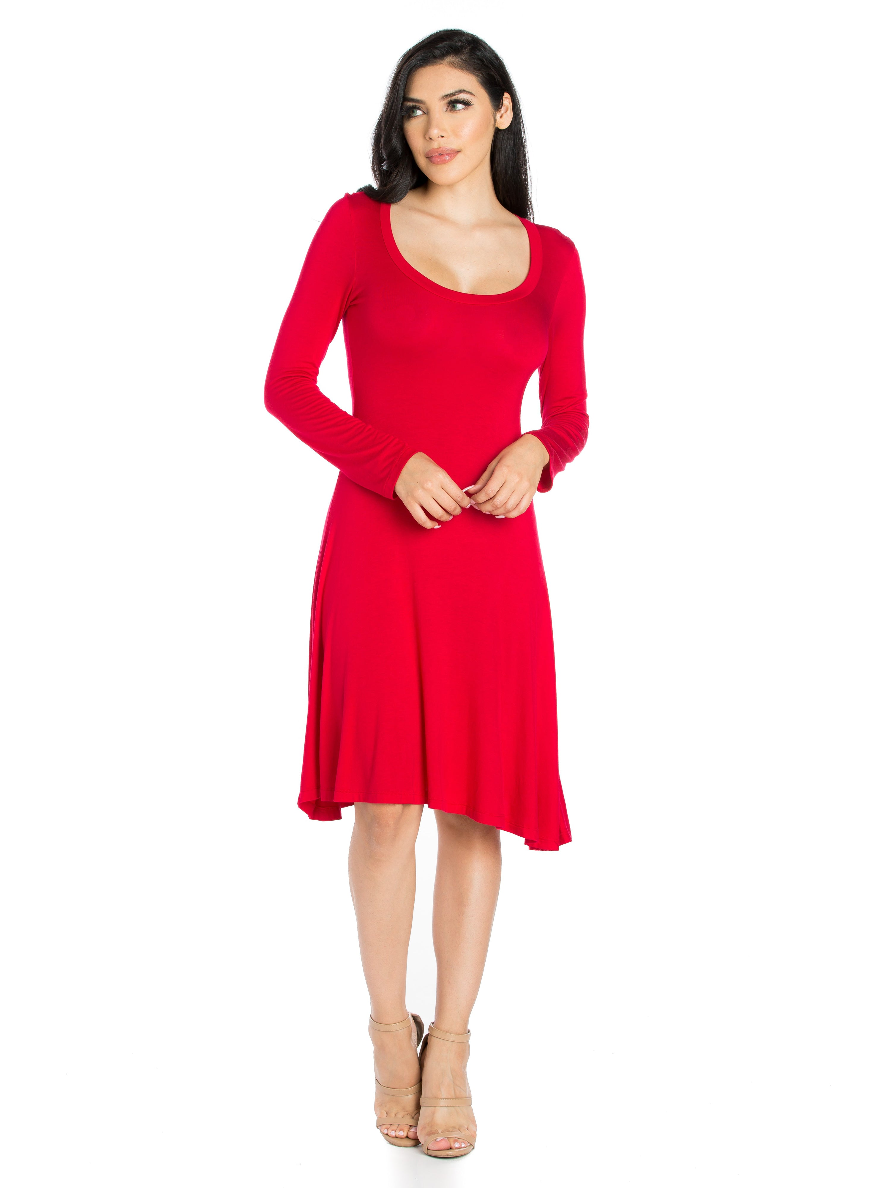 24seven Comfort Apparel Classic Long Sleeve Flared Mini Dress-Dresses-24Seven Comfort Apparel-RED-S-24/7 Comfort Apparel