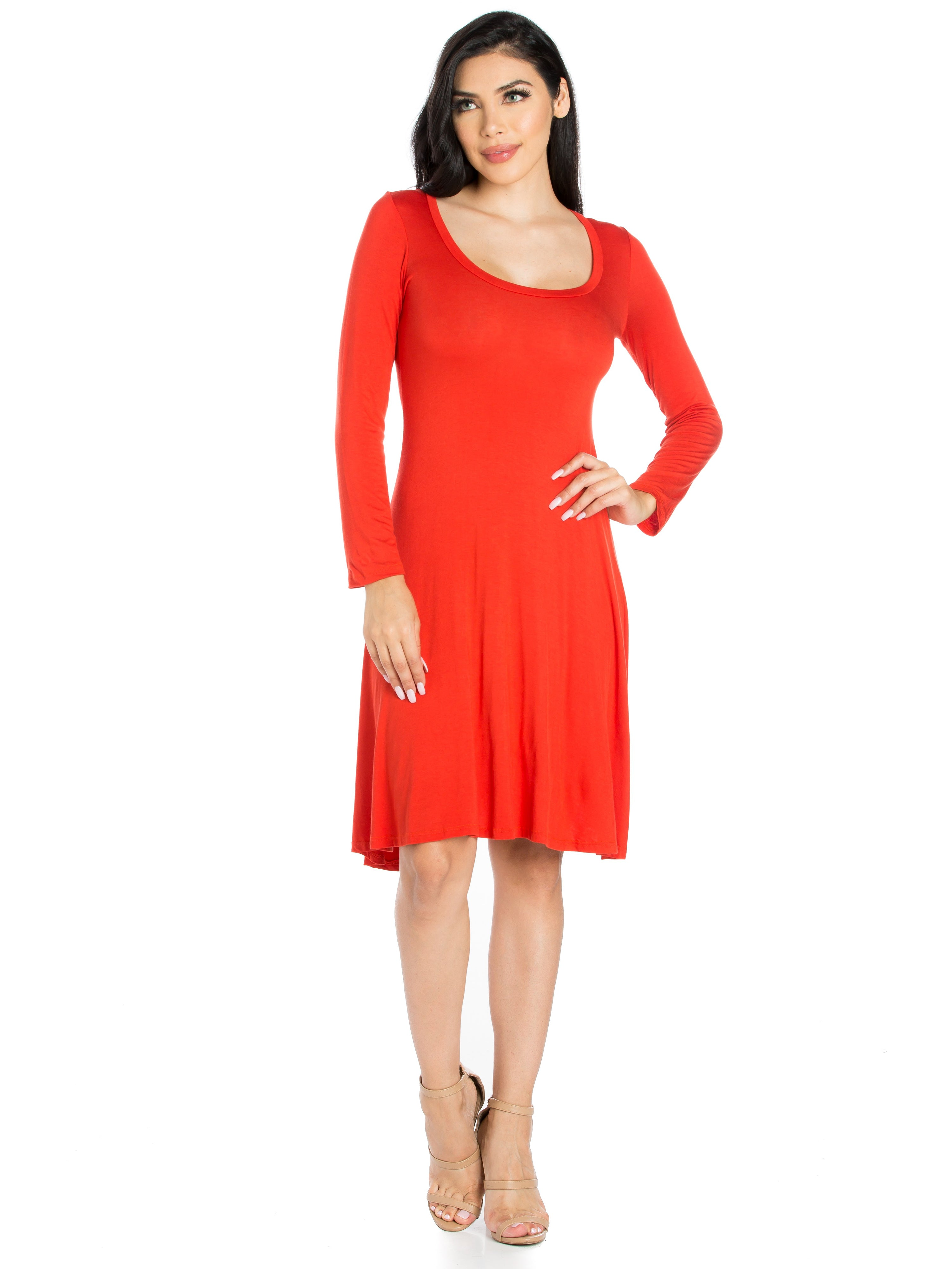24seven Comfort Apparel Classic Long Sleeve Flared Mini Dress-Dresses-24Seven Comfort Apparel-RUST-S-24/7 Comfort Apparel