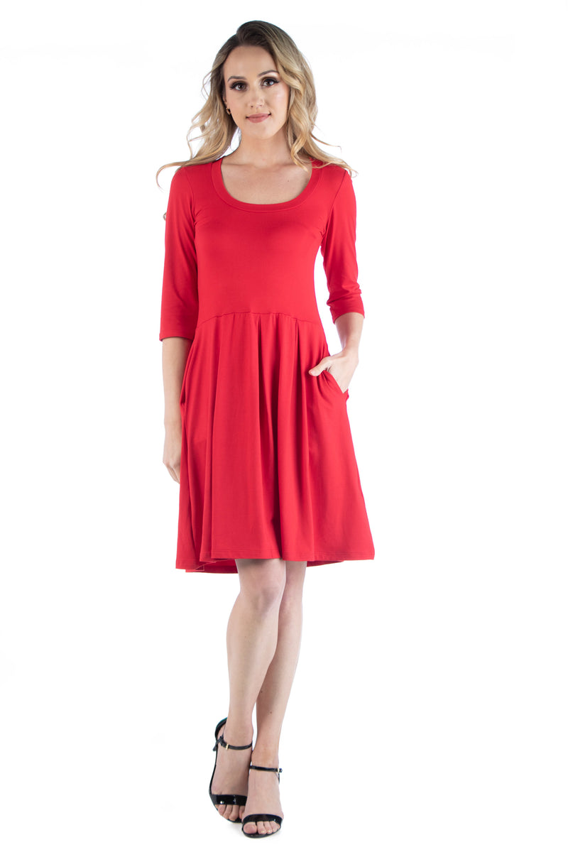 Three Quarter Sleeve Fit and Flare Mini Dress