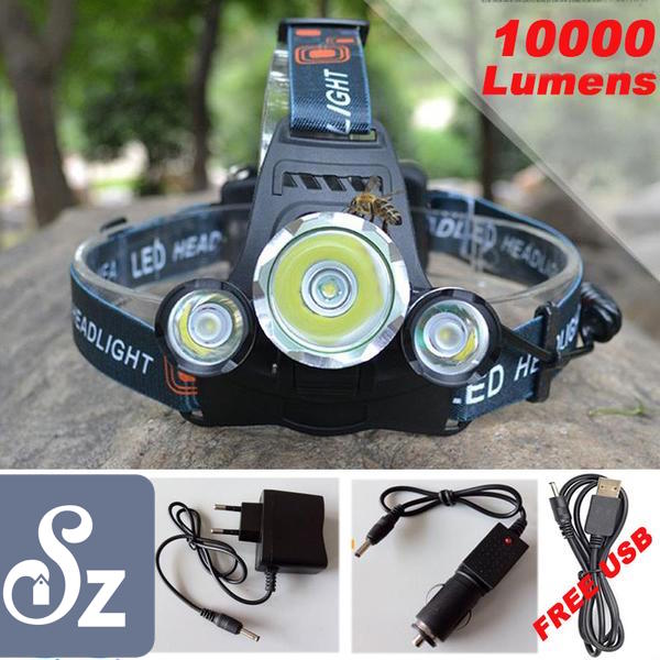 10,000 Lumen Headlight - With Bonus Wall Charger, Car Charger & USB Cable