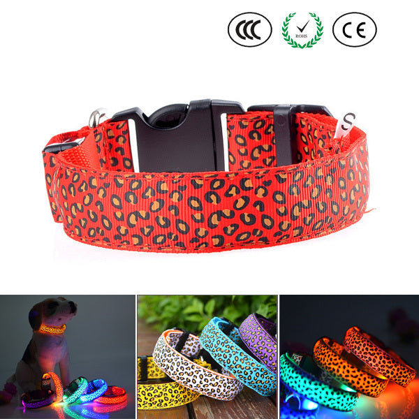 LED Leopard Print Dog Collars - Shopzle
