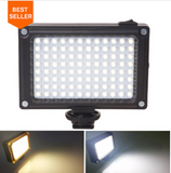 Rechargeable 96 LED Light with Cold Shoe Mount For Phone & DSLR Camera's - Shopzle