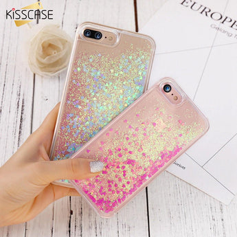 KISSCASE- Glitter Flowing Heart Quicksand Case For iPhone