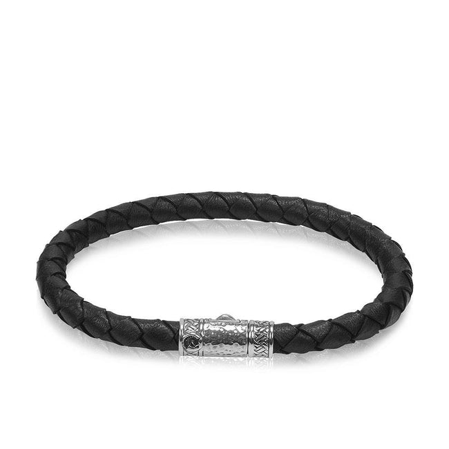 Men Bracelet - Single Classic Black Leather Bracelet