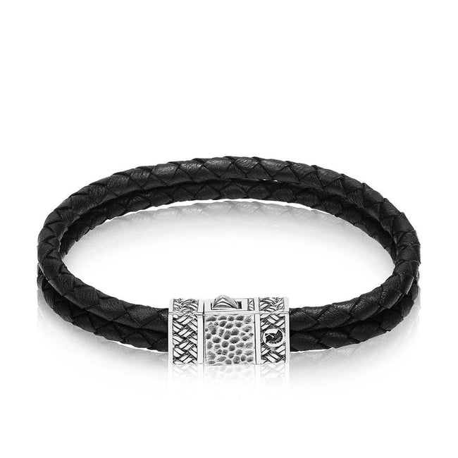Men Bracelet - Sterling Silver Black Leather Duo Bracelet