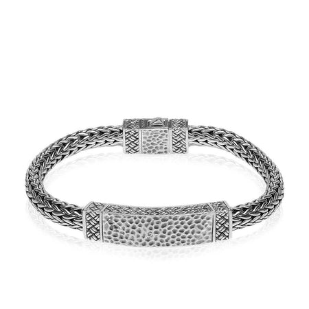 Sterling Silver Classic Woven Detail ID Bracelet - Kainam