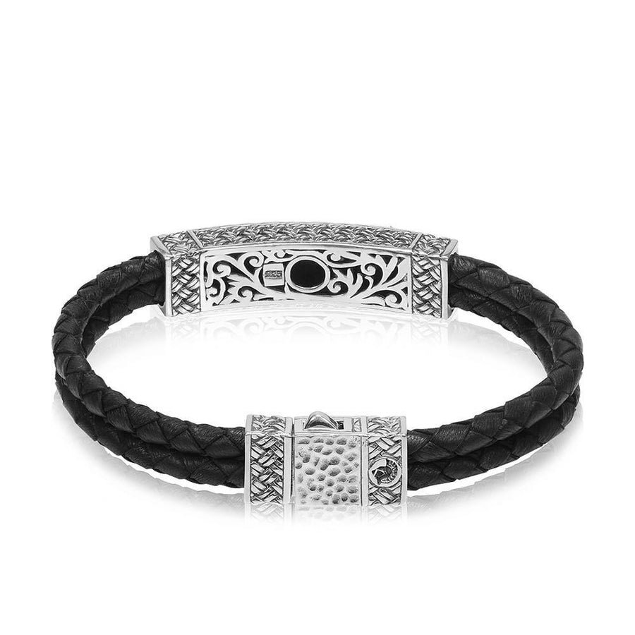 Men Bracelet - Sterling Silver Double Row Leather ID Bracelet