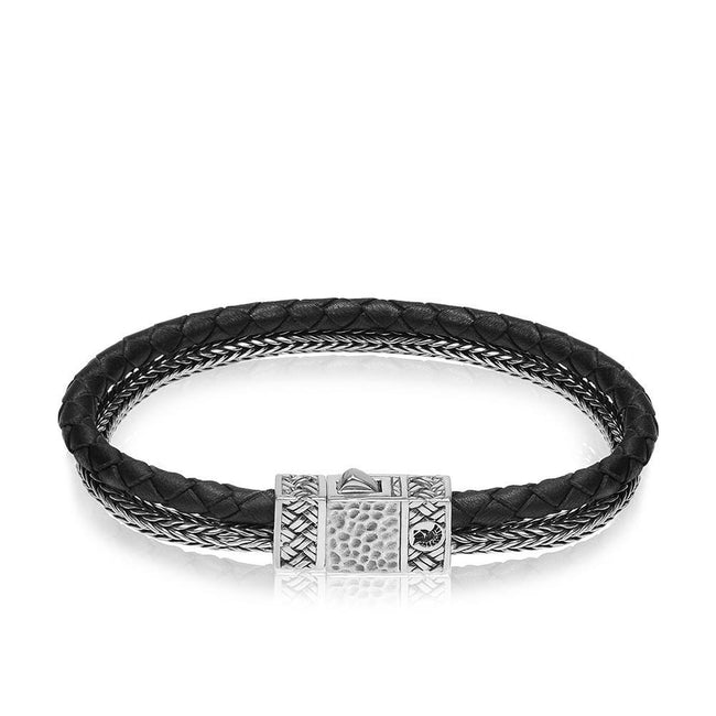 Men Bracelet - Sterling Silver Double Row Silver/Leather Bracelet