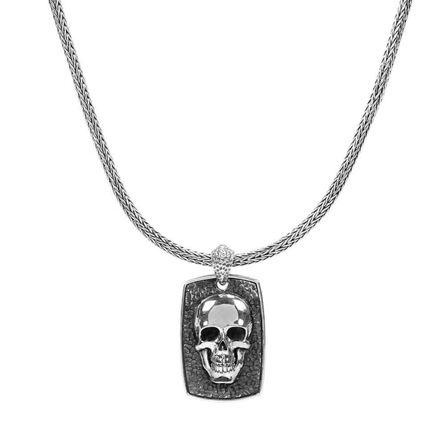Sterling Silver Skull Plate Necklace - Kainam