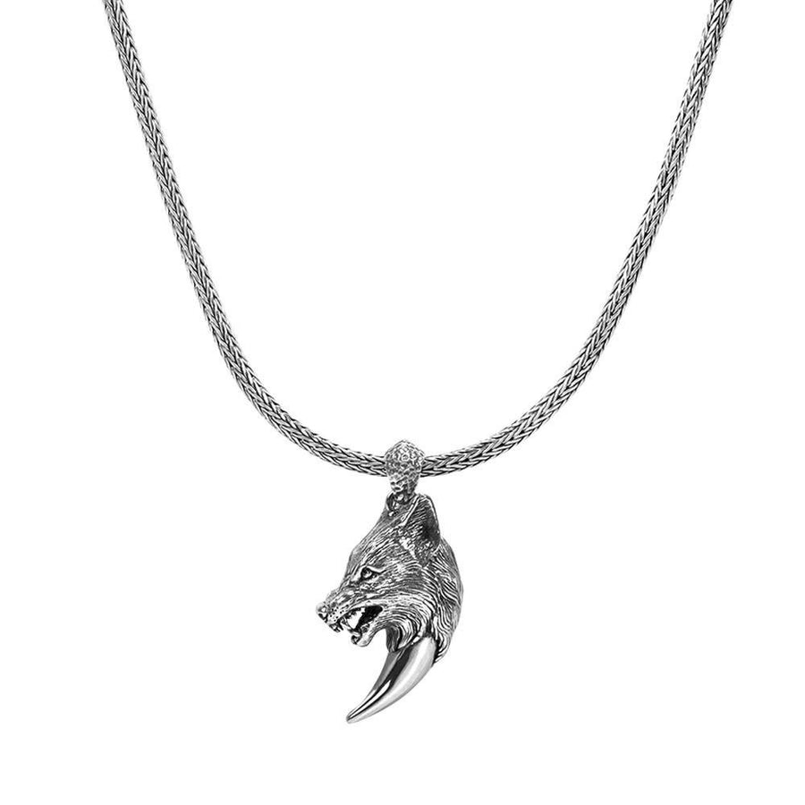 Men Pendant - Sterling Silver Wolf's Fang Necklace