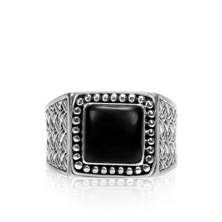 Men Ring - Gentleman's Signet Ring With Onyx