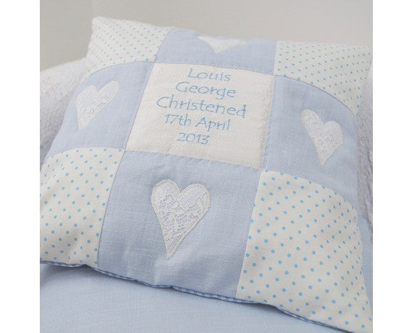 Vintage Style Personalised Cushion Blue