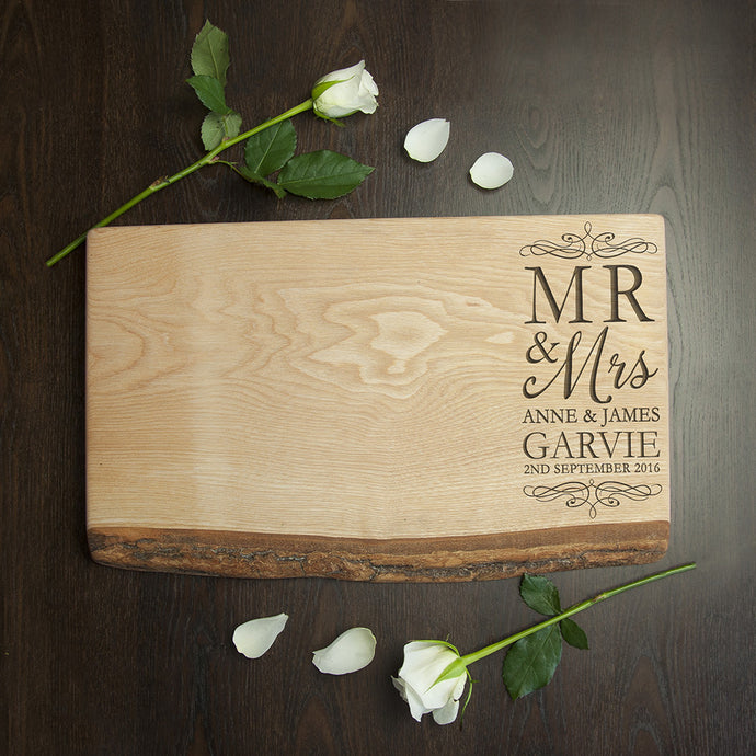 Mr & Mrs Romantic Rustic Welsh Ash Serving Board