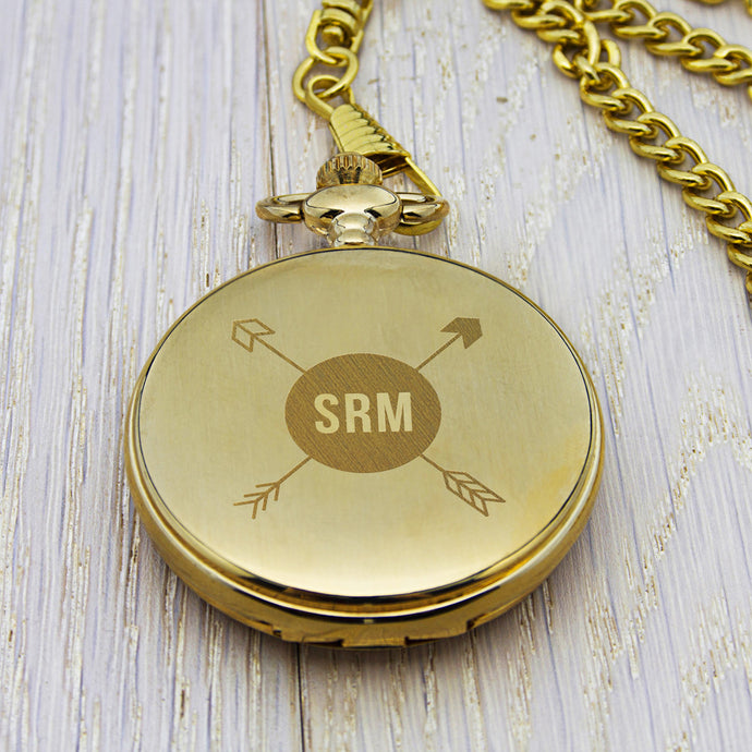 Personalised Monogram Pocket Watch Gold