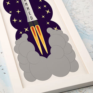 Space Rocket Personalised Framed Print