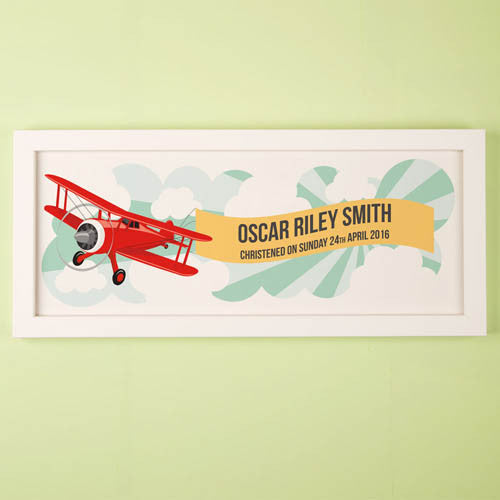 Child's Aeroplane Personalised Framed Print
