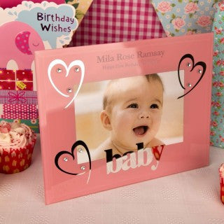 Pink Glass Baby Photo Frame