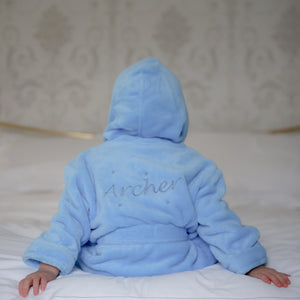 Super Soft Bathrobe in Blue with Cheeky Monkey Design
