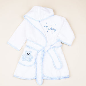 Personalised Baby Bathrobe with Gingham Detail Blue