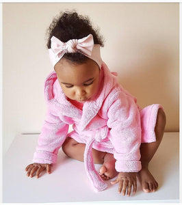 Super Soft Bathrobe in Pink with Butterfly Design