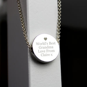 Personalised Silver Plated Any Message Disc Necklace