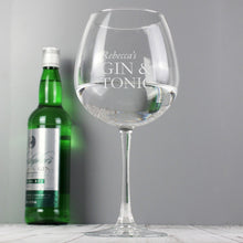 Personalised G&T Balloon Glass
