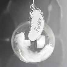 White Feather Glass Bauble