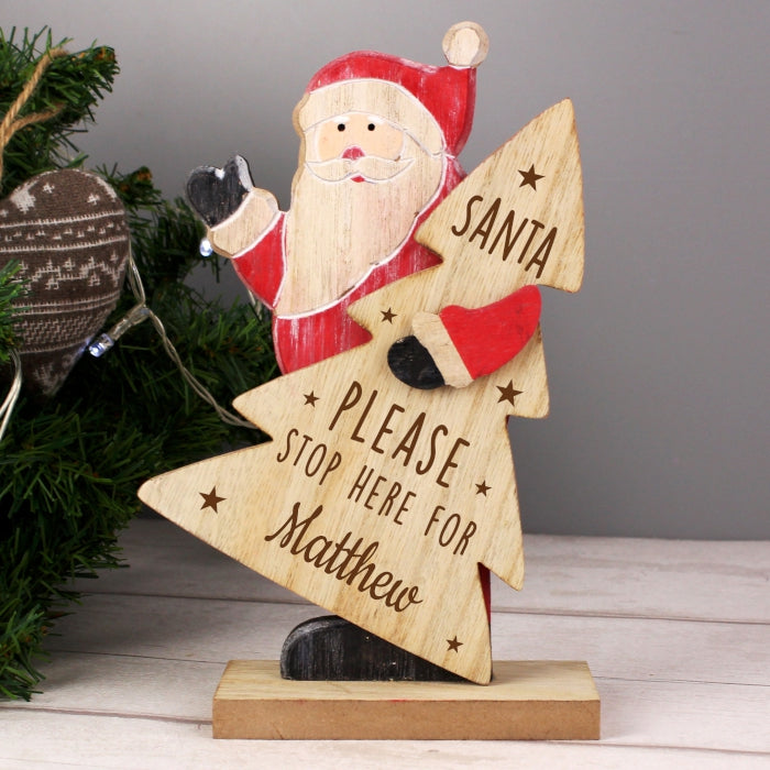 Santa Stop Here Wooden Decoration