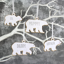 Personalised Set of Four Polar Bear Decorations