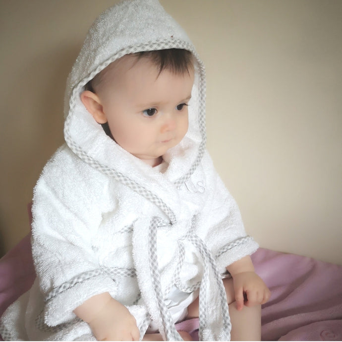 Personalised Baby Bathrobe with Gingham Detail Grey