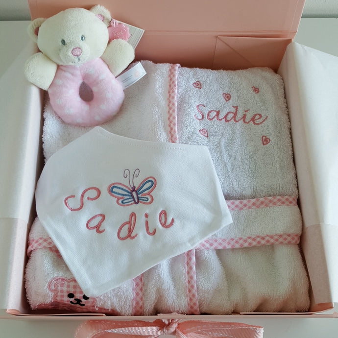 Butterfly design birth gift Personalised baby blanket