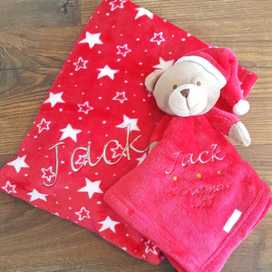 Christmas Teddy Comforter & Blanket