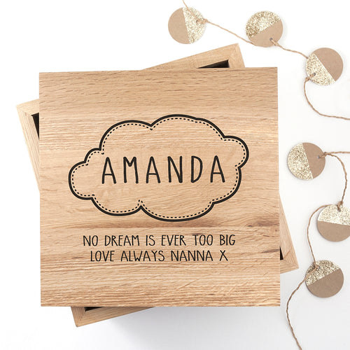 Baby Name in Cloud Oak Photo Keepsake Box