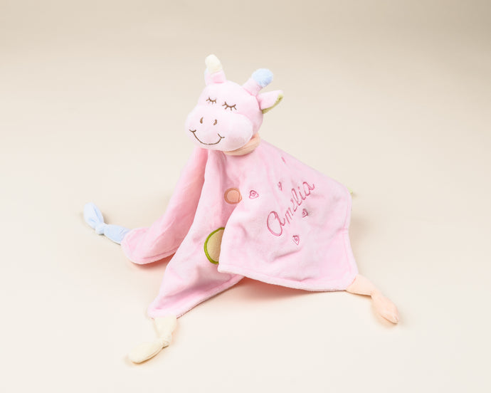 Baby Comforter with Giraffe in Pink