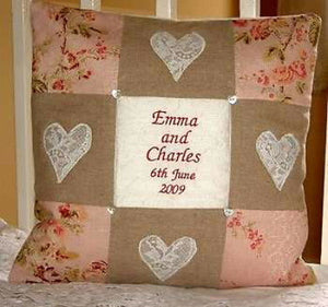 Silk and linen wedding cushion
