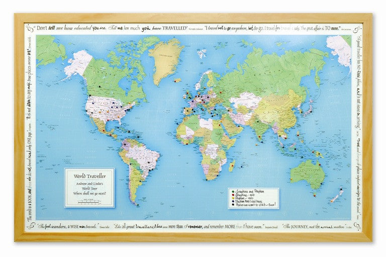 Personalised world traveller map justathought personalised world traveller map gumiabroncs Gallery