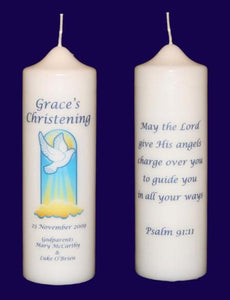 Christening candle dove
