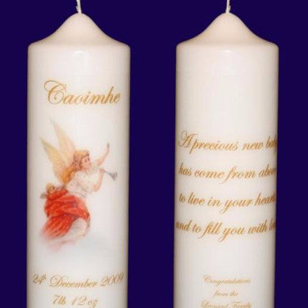 Personalised Angel Candle with Baby's Name