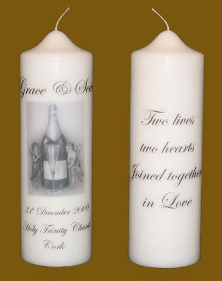 Wedding champagne candles