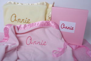 Pram blanket set with baby's name and custom box